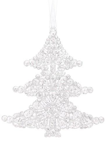 Vánoční dekorace plastová bílá 2ks S motivem: stromek