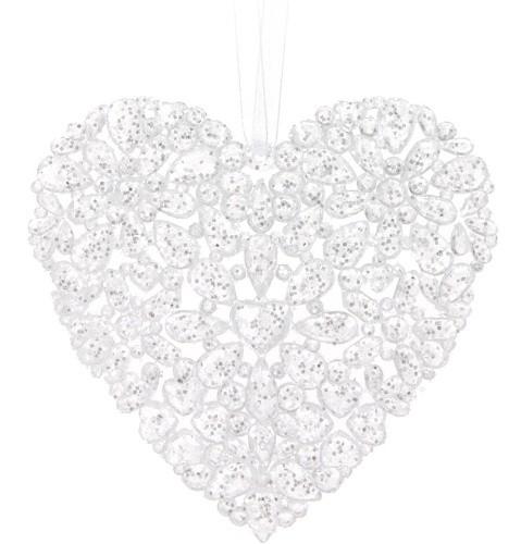 Vánoční dekorace plastová bílá 2ks S motivem: srdce