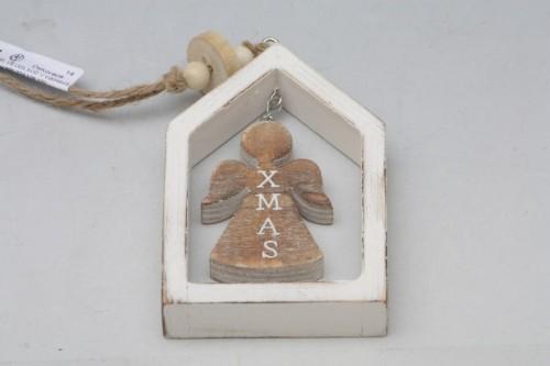 Vánoční dekorace v rámečku bílá S motivem: anděla