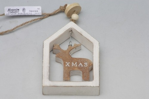 Vánoční dekorace v rámečku bílá S motivem: Sob