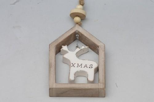 Vánoční dekorace v rámečku hnědá S motivem: Sob