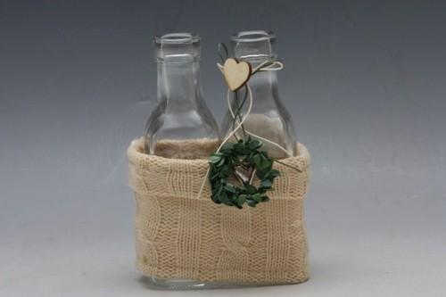 Váza skleněná bavlněný úplet 16cm
