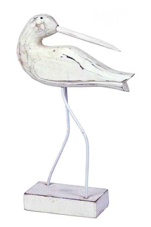 Dekorace čáp s otočenou hlavou bílý 21x12x5cm