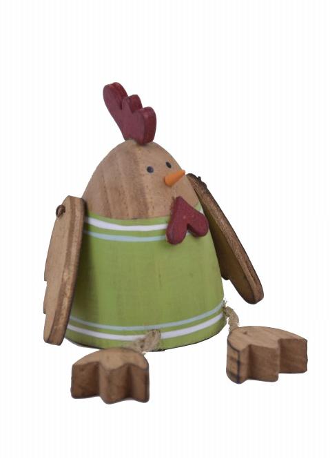 Dekorace kuře dřevěné 16x6x6cm Barva: zelená