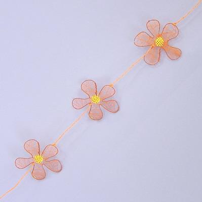 Girlanda květinky kov a textil 200cm Barva: oranžová
