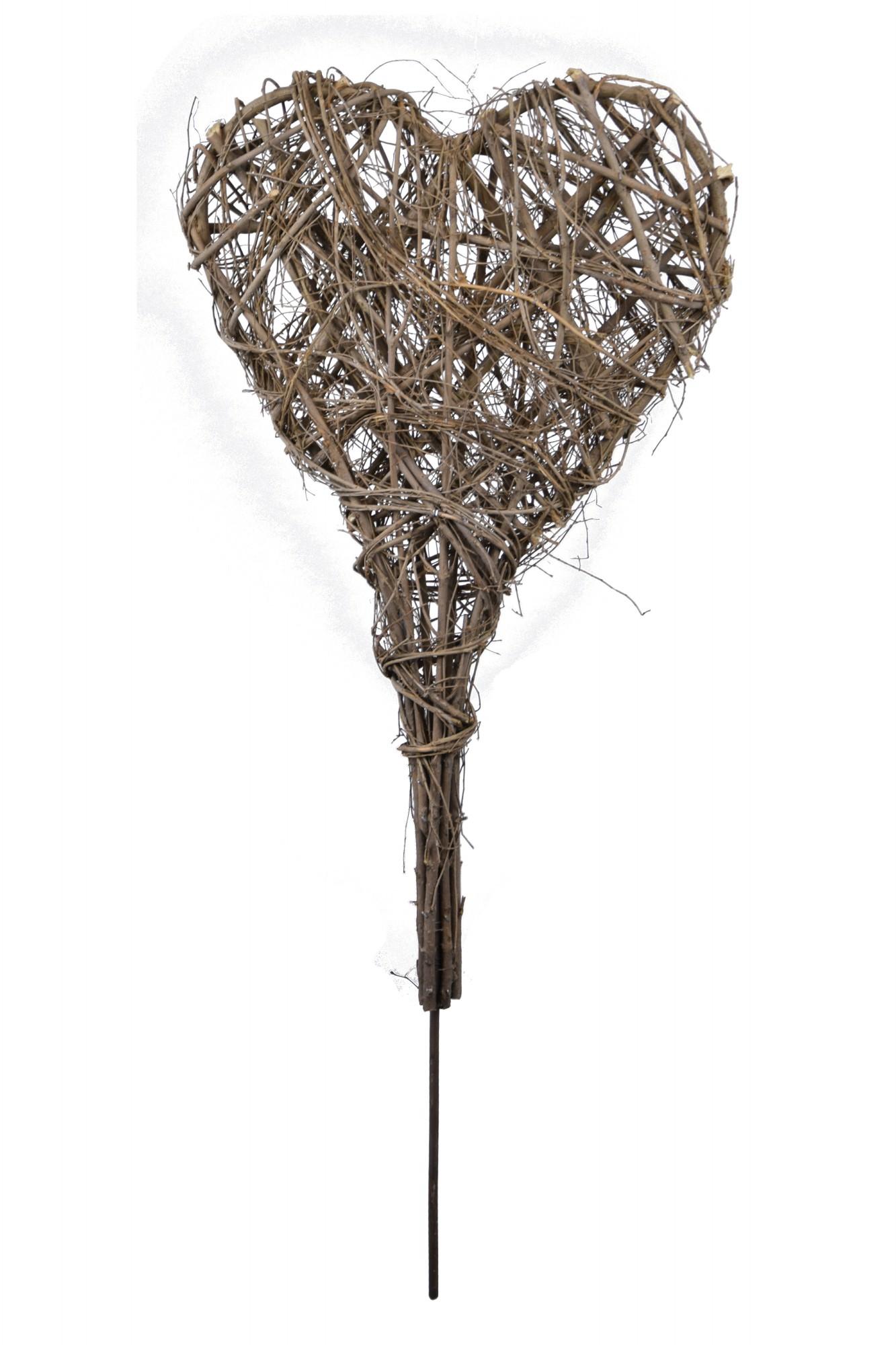 Zápich pletené srdce 40x90x7cm Barva: přírodní