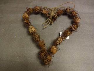 Srdce proutěné s drátkem 28x30cm