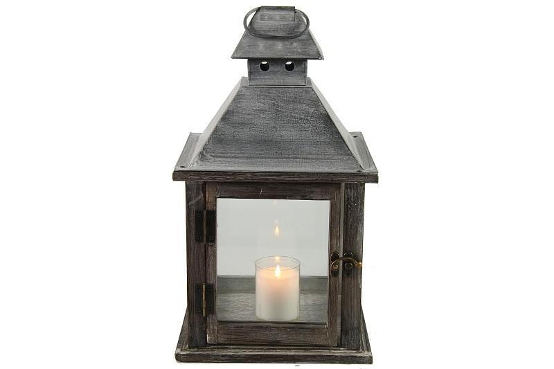 Dřevěná lucerna Benito Barva: šedá, Provedení: Větší
