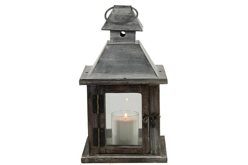 Dřevěná lucerna Benito Barva: šedá, Provedení: Menší
