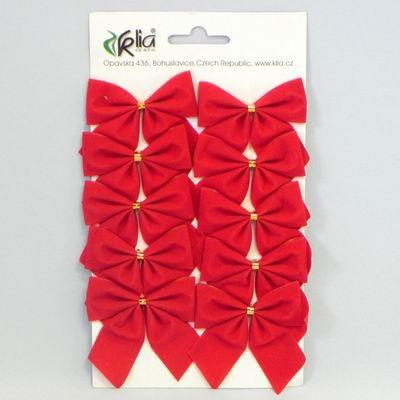Mašle vánoční samet set 10ks Barva: červená