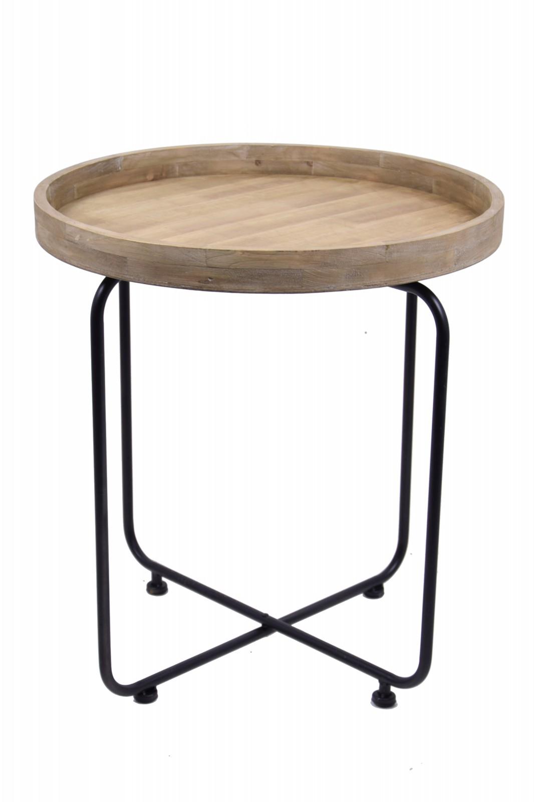 Odkládací stolek kov a dřevo Velikost: menší - 60x65cm