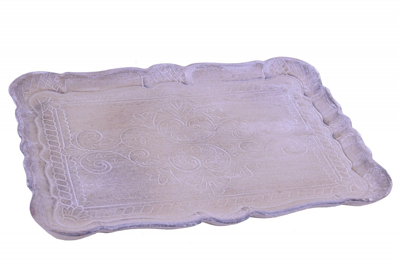 Dřevěný tác s ornamenty Velikost: menší - 31,5X23X2,5cm