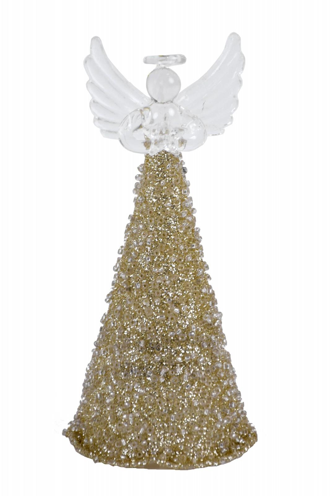 Skleněný zlatý anděl Rozměry: Větší andělíček