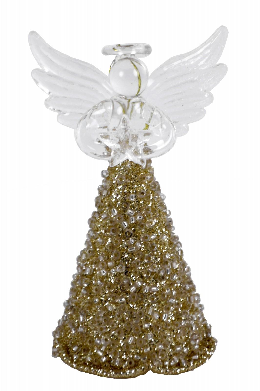 Skleněný zlatý anděl Rozměry: Menší andělíček