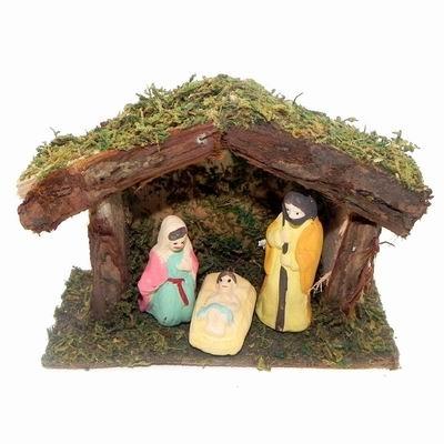 Betlém 3 figurky mech a dřevo Velikost: menší