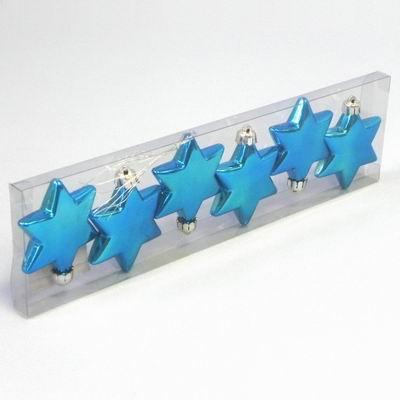 KA Vánoční ozdoba hvězda 6cm set 6ks Barva: modrá