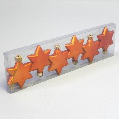 KA Vánoční ozdoba hvězda 6cm set 6ks Barva: oranžová