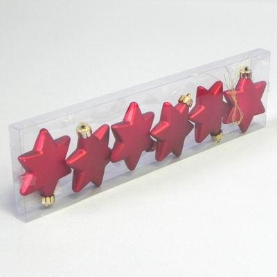 KA Vánoční ozdoba hvězda 6cm set 6ks Barva: červená