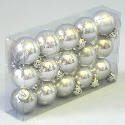 Vánoční ozdoba baňky 3cm set 15ks Barva: stříbrná