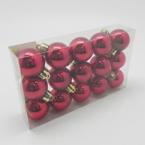 Vánoční ozdoba baňky 3cm set 15ks Barva: červená