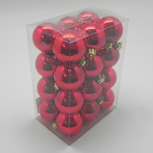 Vánoční ozdoba baňky 4cm set 24ks Barva: červená