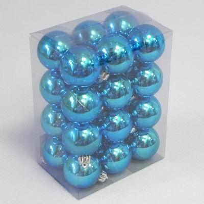 Vánoční ozdoba baňky 4cm set 24ks Barva: modrá