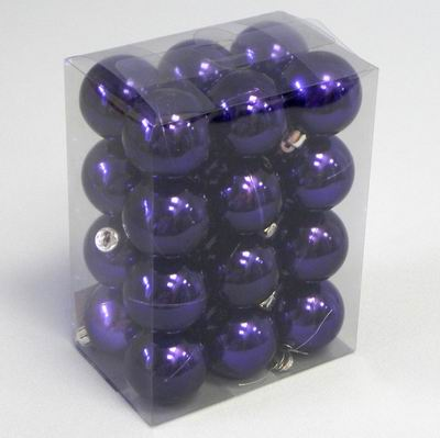 Vánoční ozdoba baňky 4cm set 24ks Barva: fialová