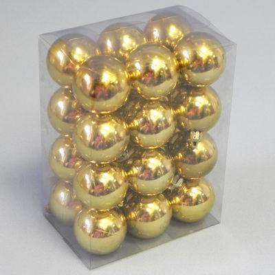 Vánoční ozdoba baňky 4cm set 24ks Barva: zlatá