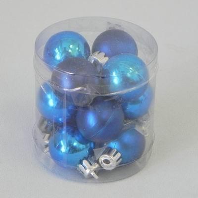 Vánoční ozdoba baňky 3cm set 12ks Barva: modrá