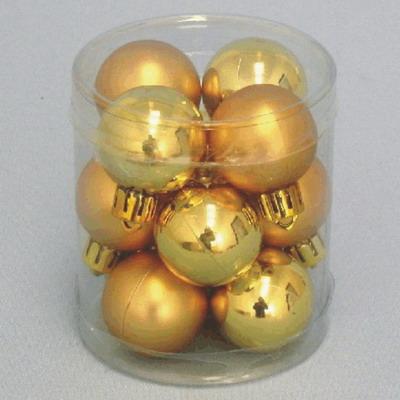 Vánoční ozdoba baňky 3cm set 12ks Barva: zlatá