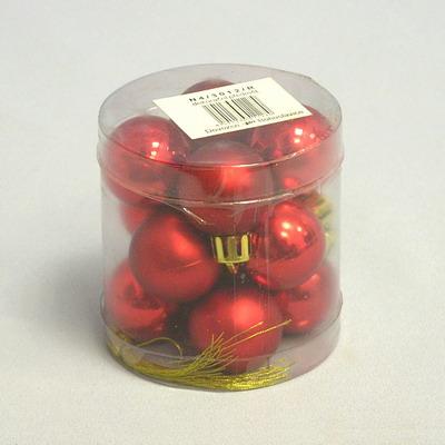 Vánoční ozdoba baňky 3cm set 12ks Barva: červená