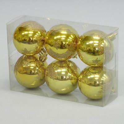 Vánoční ozdoba baňky lesklá zlatá set 6ks