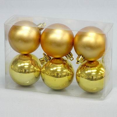 Vánoční ozdoba baňky 5cm set 6ks Barva: zlatá