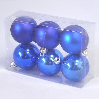 Vánoční ozdoba baňky 5cm set 6ks Barva: modrá