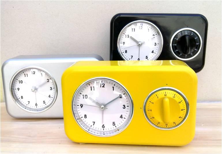 Kuchyňská minutka a stolní hodiny 17x10cm Barva: žlutá