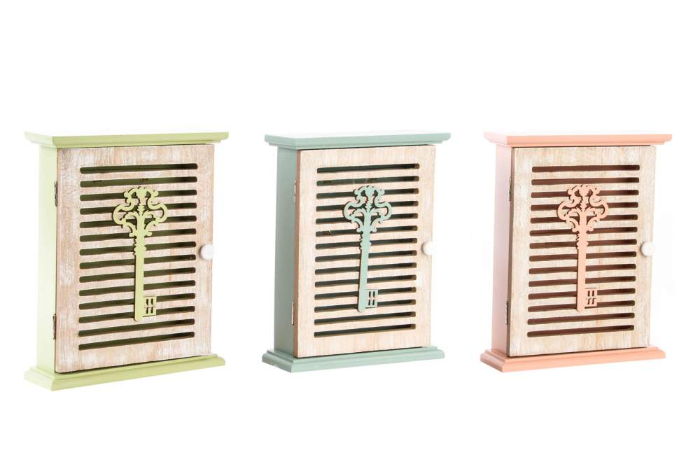 Dřevěná skříňka na klíče 20x25x6cm Barva: modrá