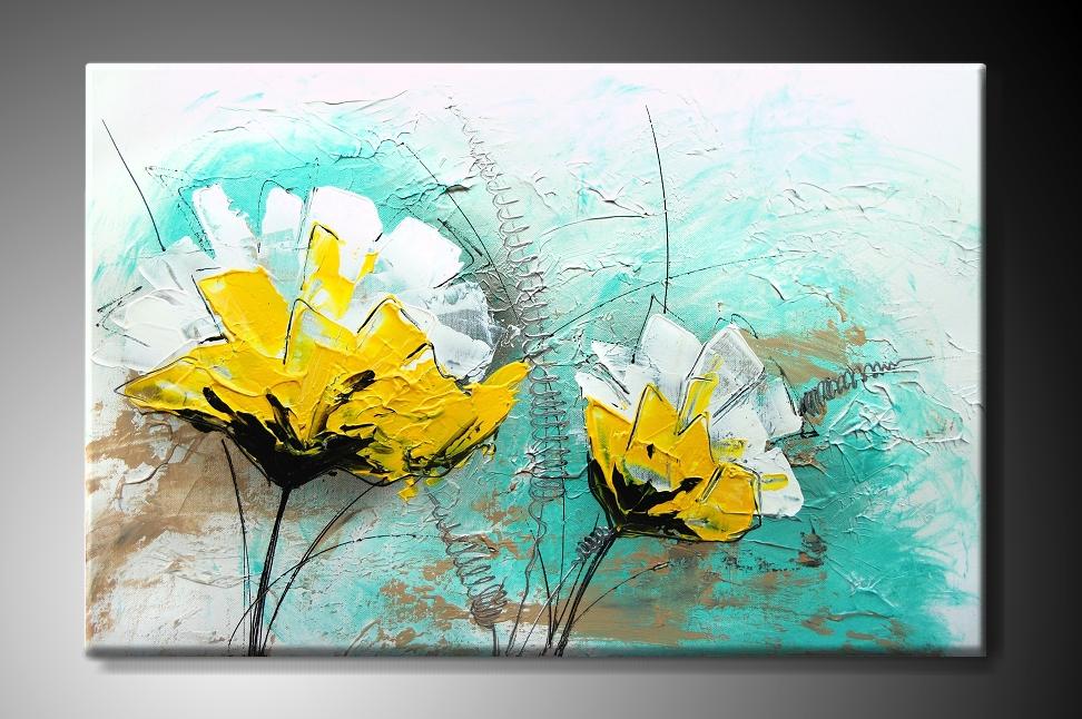 Obraz na plátně žlutobílé květy na tyrkysovém pozadí Rozměry: 60x40cm