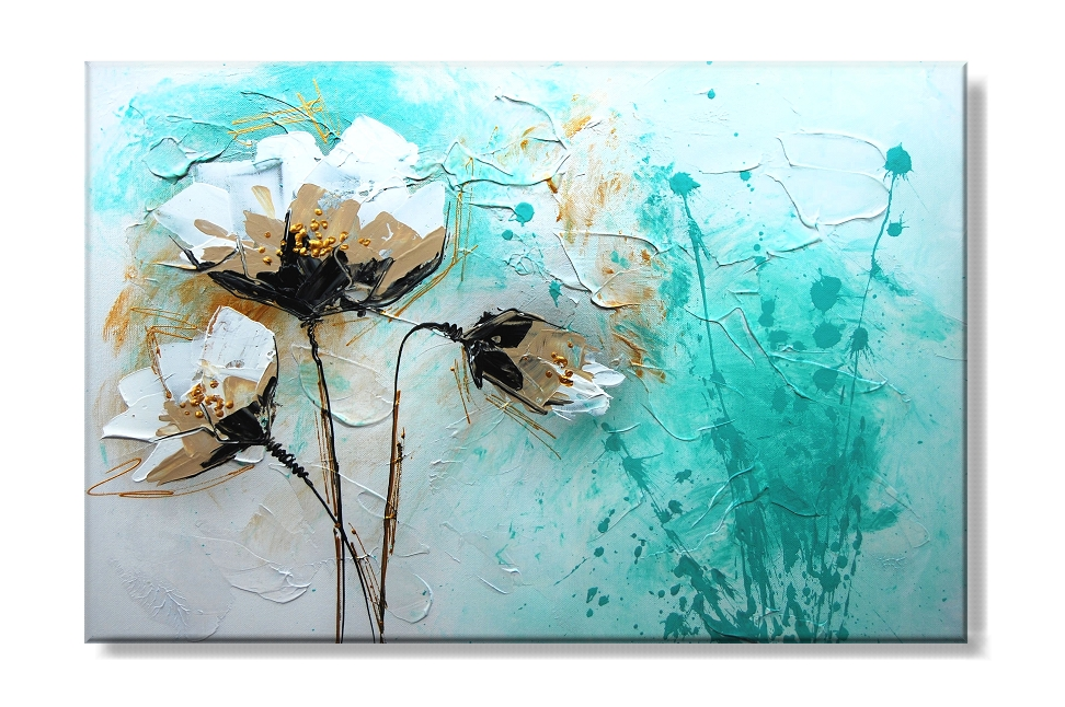 Obraz na plátně květy na tyrkysovém pozadí Rozměry: 80x50cm