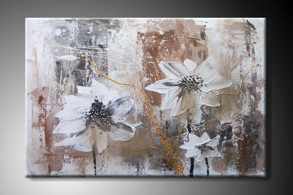 Ručně malovaný obraz bílé květy Rozměry: 60x40cm