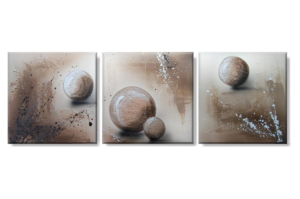 Vícedílný obraz na plátně hnědé koule Rozměry: 120x40cm