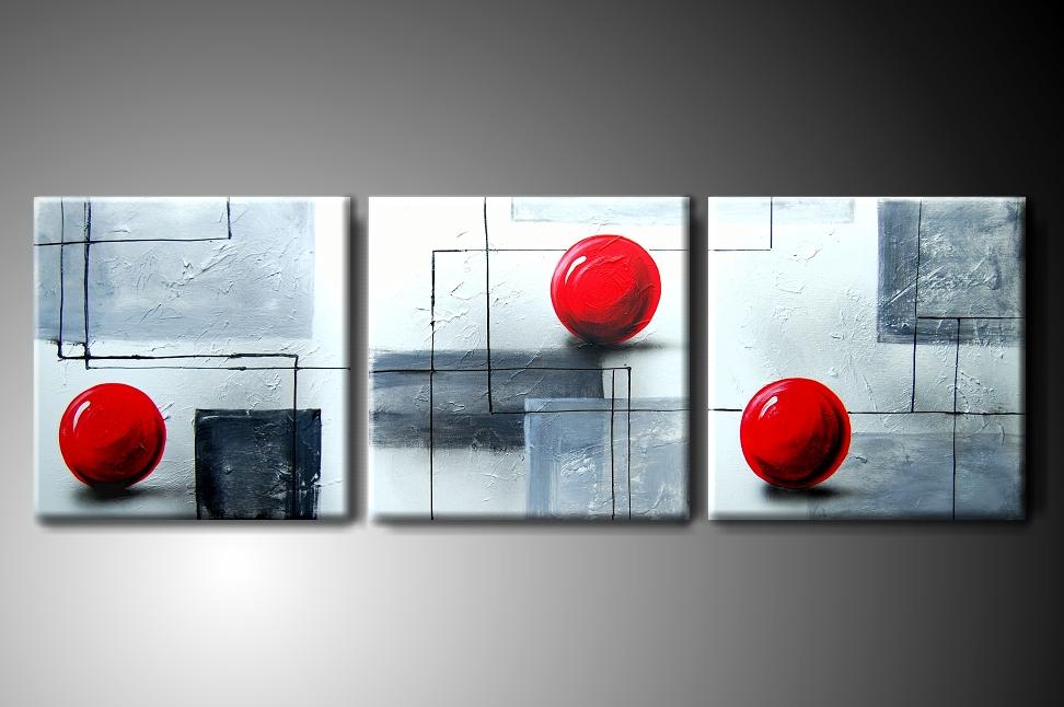 Vícedílný obraz na plátně červené koule Rozměry: 120x40cm