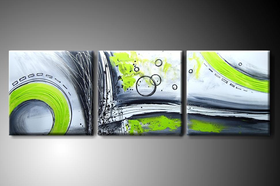 Vícedílný obraz na plátně zelená abstrakce Rozměry: 120x40cm