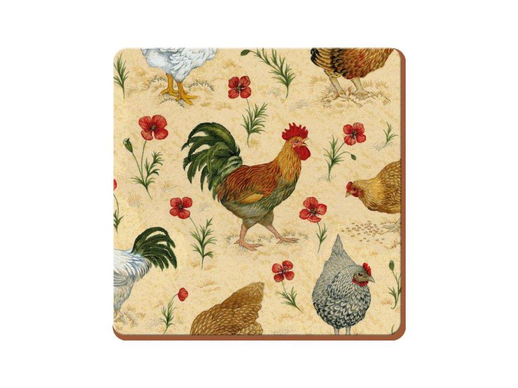Creative Tops Korkové prostírání Chicken Rozměry: 10x10cm - 4ks