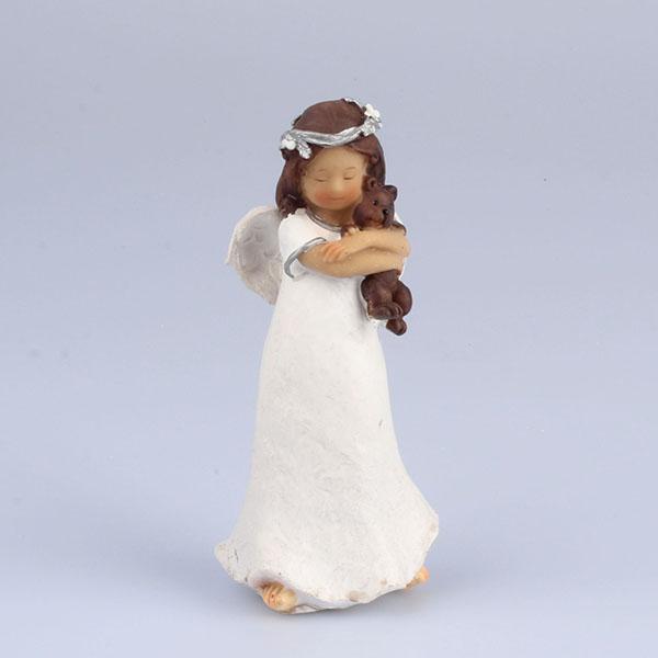 Anděl s medvídkem stojící 14cm