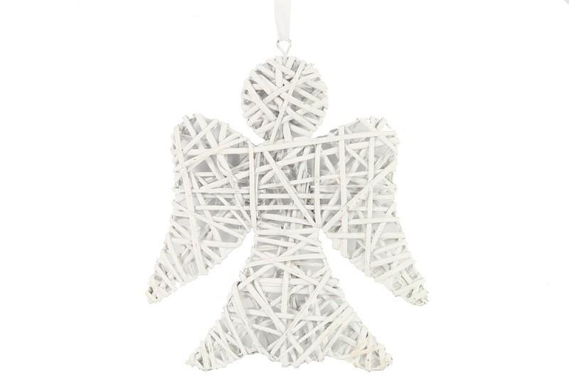 Závěsná dekorace anděl proutěný bílý Velikost: malý