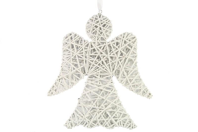 Závěsná dekorace anděl proutěný bílý Velikost: velký
