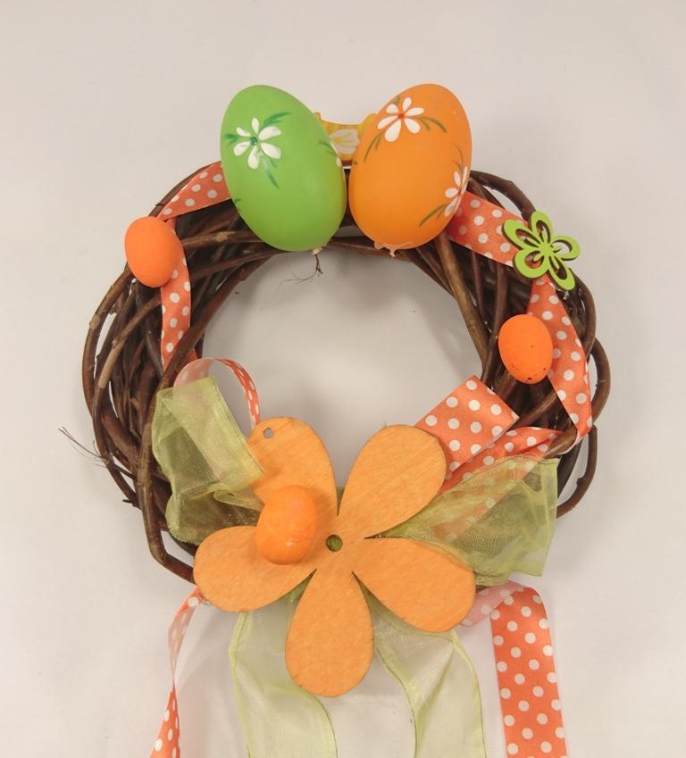 VESELÁ ŽENA Velikonoční věnec oranžovo zelený