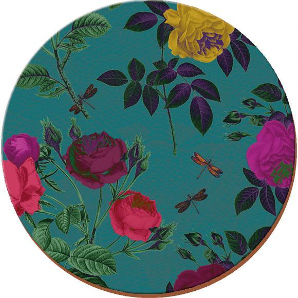 Creative Tops Korkové prostírání Teal Floral Rozměry: 12x12cm - 4ks
