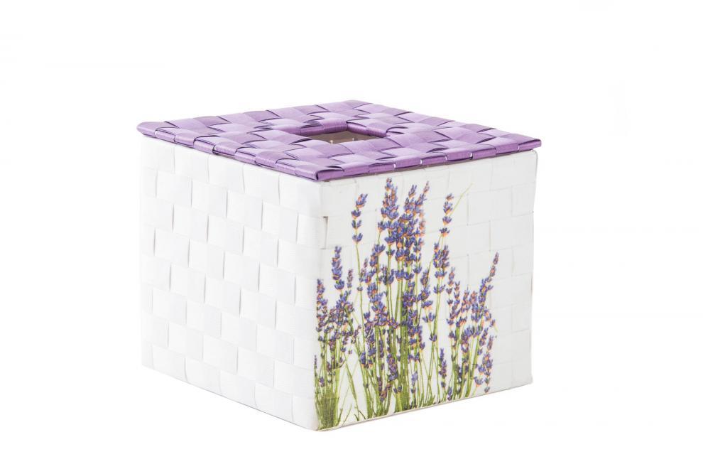 Box na kapesníky LEVANDULE 15x15x13cm