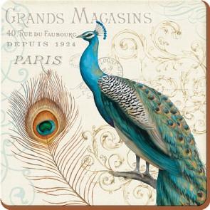 Creative Tops Korkové prostírání Peacock Rozměry: 10x10cm - 6ks